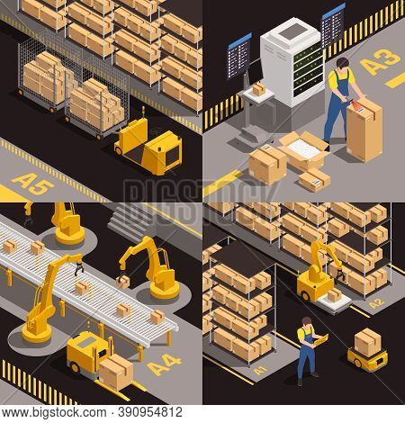 Modern Warehousing Concept 4 Isometric Compositions With Fully Automated Robotic Conveyor Belt Cargo