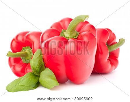 Sweet red pepper and basil leaves still life isolated on white background cutout