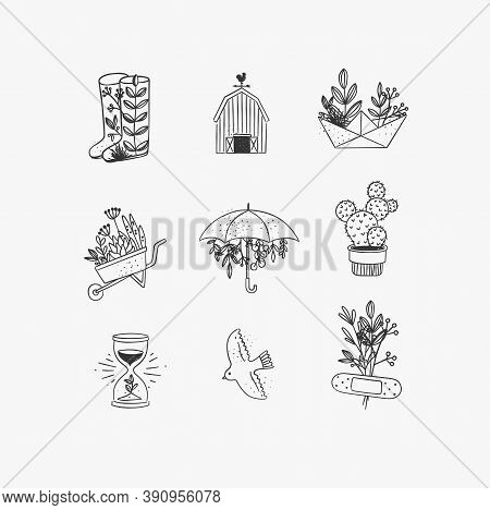 Set Of Floral Garden Icons In Hand Made Line Style Boots, Barn, Origami, Garden Cart, Umbrella, Cact