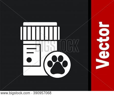 White Dog Medicine Bottle Icon Isolated On Black Background. Container With Pills. Prescription Medi