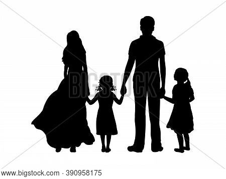 Silhouettes Father Mother And Two Daughters From Back Hold Hands. Illustration Graphics Icon Vector