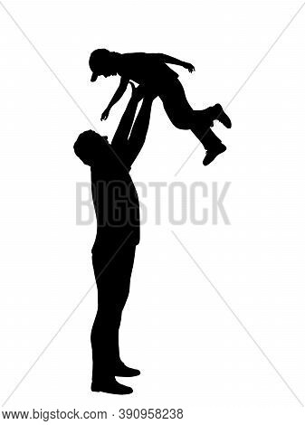 Silhouette Father Throwing His Son And Catching Him. Illustration Graphics Icon Vector
