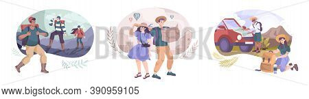 Excursion Set Of Three Outdoor Compositions With Flat Human Characters Of Mountain Hikers And City T
