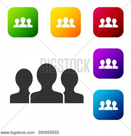 Black Users Group Icon Isolated On White Background. Group Of People Icon. Business Avatar Symbol -