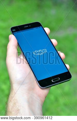 Smartphone Xiaomi Mi 5 With Skype Application On The Screen.
