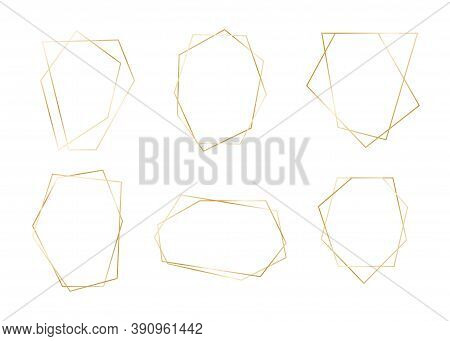 Gold Geometric Frame Set. Golden Luxury Abstract Borders. Vector Vintage Template For Wedding Card,