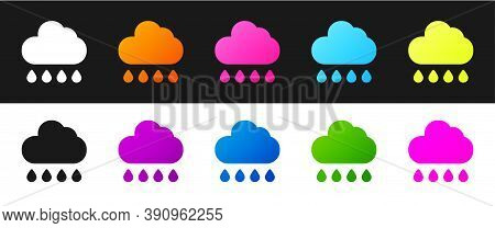 Set Cloud With Rain Icon Isolated On Black And White Background. Rain Cloud Precipitation With Rain