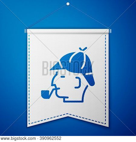 Blue Sherlock Holmes With Smoking Pipe Icon Isolated On Blue Background. Detective. White Pennant Te