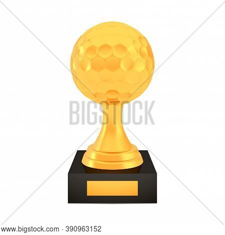 Winner Golf Cup Award On Stand With Empty Plate, Golden Trophy Logo Isolated On White Background, Ph