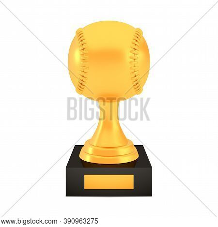 Winner Baseball Cup Award On Stand With Empty Plate, Golden Trophy Logo Isolated On White Background