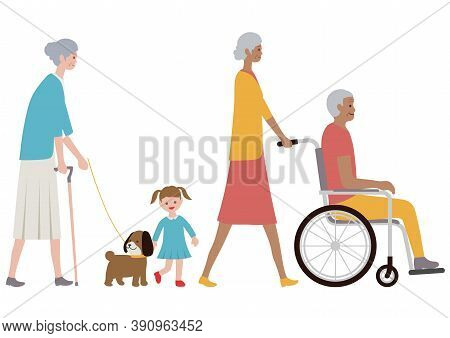 Set Of Old People, A Grandchild And A Dog Isolated On A White Background. Vector Illustration In A F