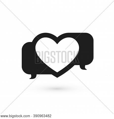 Love Talk Chat Dating, Heart Shape In Message Bubble, Vector Concept Logo Icon Isolated On White Bac