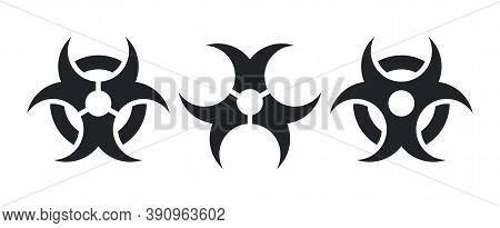 Set Of Black Biohazard Symbols Isolated On White Background, Vector Graphic Design Elements