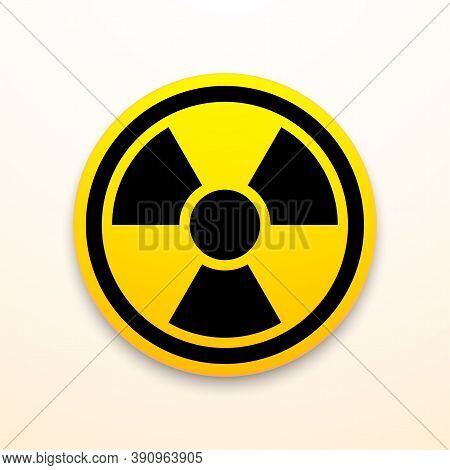 Yellow And Black Radiation Symbol Isolated On White Background, Nuclear Vector Illustration With Cli