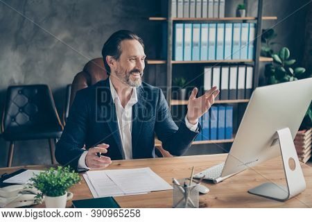 Portrait Of His He Nice Attractive Cheerful Cheery Glad Friendly Man Head Lawyer Specialist Expert M
