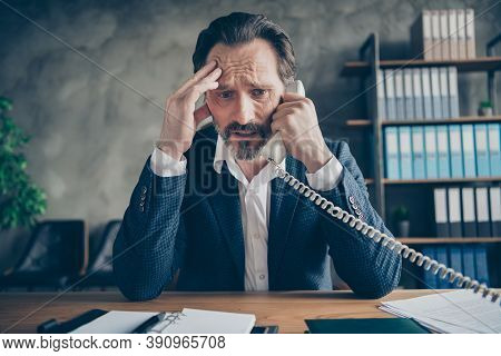 Close-up Portrait Of His He Depressed Miserable Jobless Middle-aged Guy Employee Talking On Phone Fa