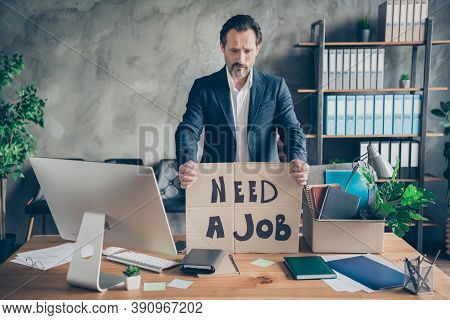 Photo Of Sad Layoff Dismissed Worker Mature Age Jobless Guy Carton Placard Poster Banner Search Job