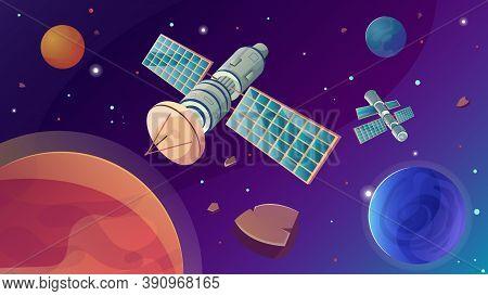 Space Satellite Flat Composition With Outer Space Scenery Stars And Planets With Meteorites And Arti