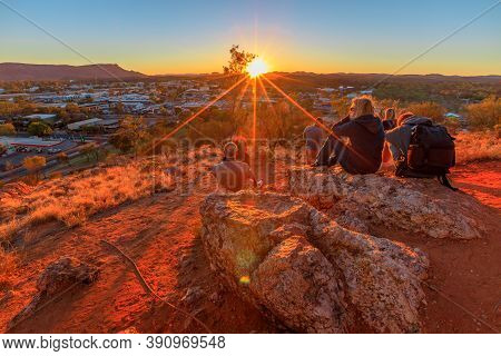 Alice Springs, Northern Territory, Australia - Aug 11, 2019: Anzac Hill War Memorial Is Most Visited