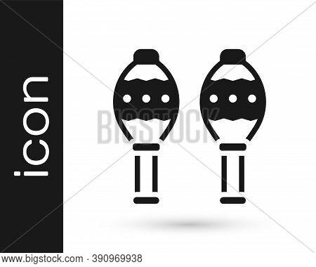 Black Maracas Icon Isolated On White Background. Music Maracas Instrument Mexico. Vector