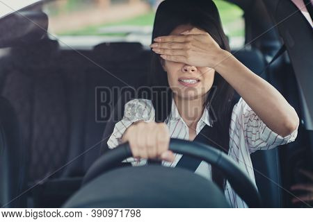 Omg No Incidents. Worried Frightened Horrified Terrified Girl Drive Ride Automobile Close Cover Face