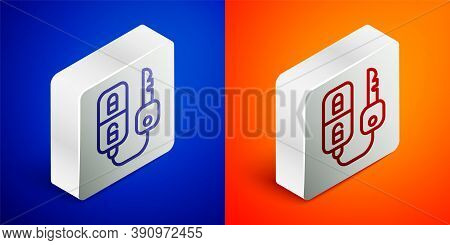 Isometric Line Car Key With Remote Icon Isolated On Blue And Orange Background. Car Key And Alarm Sy
