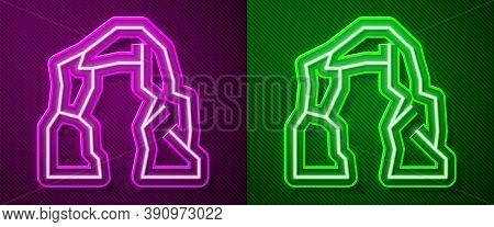 Glowing Neon Line Grand Canyon Icon Isolated On Purple And Green Background. National Park In Arizon