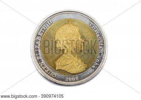 A Close Up View Of A Twenty Five Pence Coin From Tristan Da Cunha