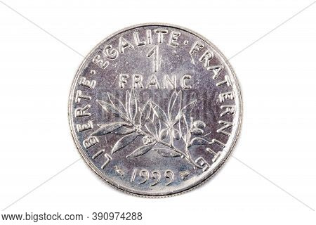 A Close Up View Of A French Pre-euro One Franc Coin