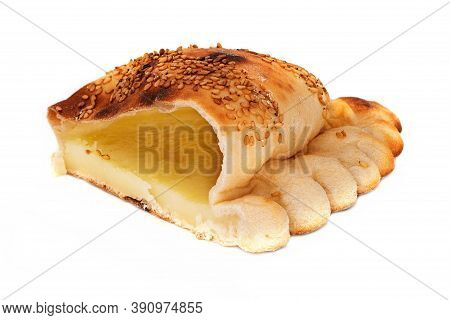 Syrian Bread Kashkaval, Close Up Of Syrian Cuisine On White Background