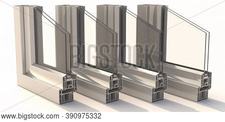Pvc Aluminum Window Frames With Two Glasses Isolated On White Background. 3D Illustration