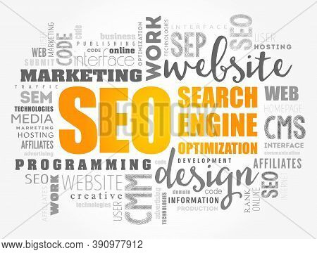 Seo (search Engine Optimization) Word Cloud Collage, Technology Concept Background