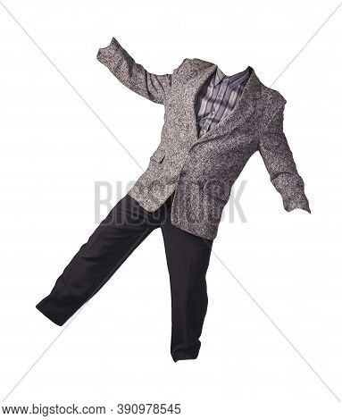 Male Gray Jacket, Gray Striped Shirt And Black Trousers Isolated On A White Background. Formal Suit