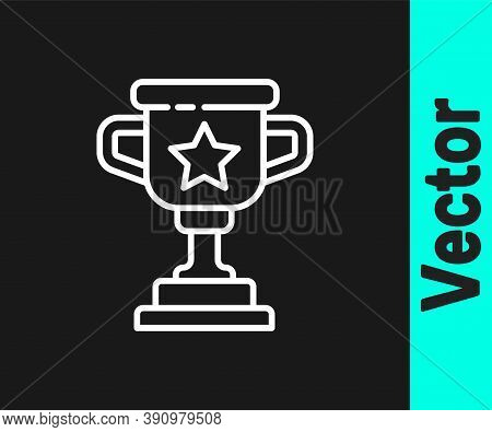 White Line Award Cup Icon Isolated On Black Background. Winner Trophy Symbol. Championship Or Compet