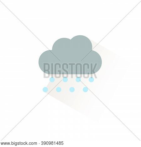 Hail And Cloud. Isolated Color Icon. Weather Glyph Vector Illustration