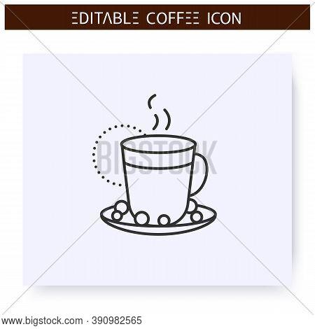 Raf Coffee Line Icon.type Of Coffee Drink. Espresso With Cream And Vanilla Sugar.coffeemania.coffeeh