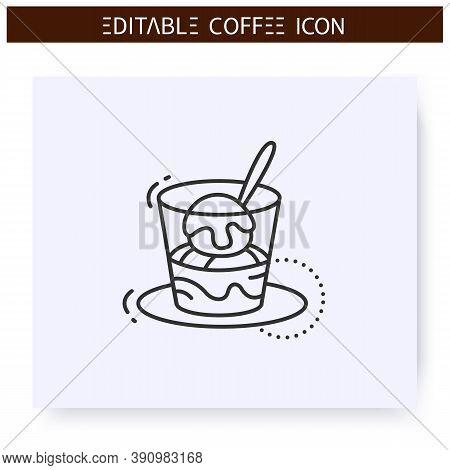 Affogato Coffee Line Icon.type Of Coffee Drink. Vanilla Ice Cream Topped In Hot Espresso. Coffeehous