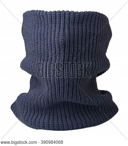 Dark Blue Scarf Wind Mask Isolated On White Background. Wool Scarf .face Scarf