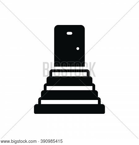 Black Solid Icon For Stairs Achievement Building Staircase Stairway Stepladder Sidestep Step Ladder