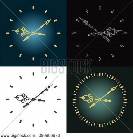 Set Of Wall Clocks. Vector Clock. Classic Round Clock.