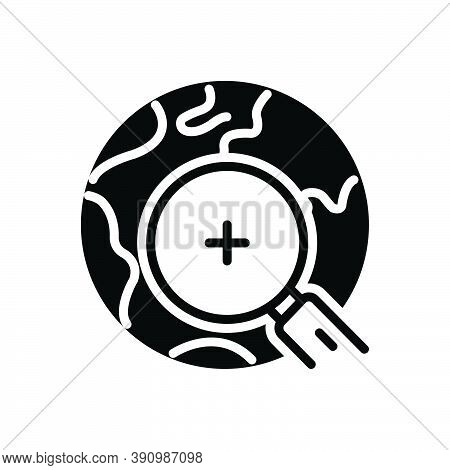 Black Solid Icon For Find Discover Observe Search Quest World Earth Magnifying-glass