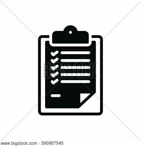 Black Solid Icon For Description  Statement Detail Report Narration Paraphrase Document Resume Lette
