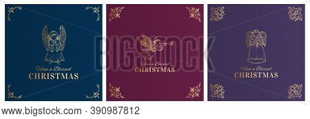Merry Christmas Abstract Vector Classy Labels, Signs Or Cards Templates Set. Hand Drawn Golden Angel