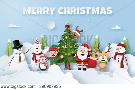 Origami Paper Art Of Christmas Party With Santa Claus And Friends, Merry Christmas And Happy New Yea