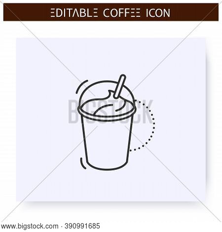 Coffee Milkshake Line Icon.type Of Coffee Drink With Blending Milk And Ice Cream. Coffeehouse Menu.