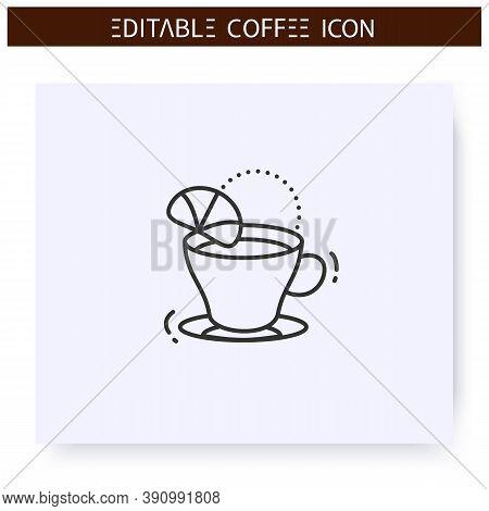 Romano Coffee Line Icon. Type Of Coffee Drink. Hot Espresso With Lemon Juice. Coffeehouse Menu. Diff