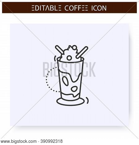 Glace Coffee Line Icon.type Of Coffee Drink, Cold Brewed With Ice Cream And Whipped Cream. Coffeehou
