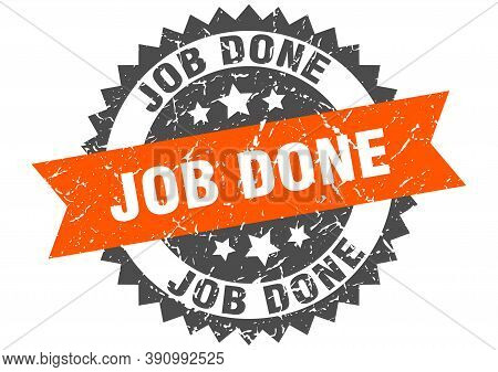 Job Done Grunge Stamp With Orange Band. Job Done