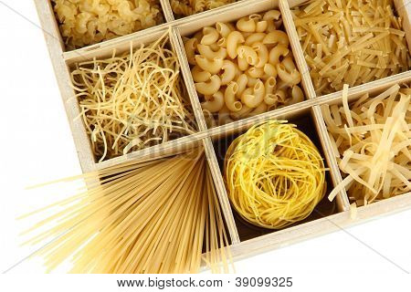 Nine types of pasta in wooden box sections close-up isolated on white poster