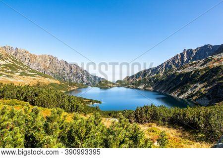 Crystal Blue Mountain Lake Wielki Staw In High Tatra Mountains, Five Polish Ponds Valley (dolina Pie